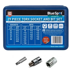 Blue Spot Tools Torx Socket & Bit Set Male Female 01529