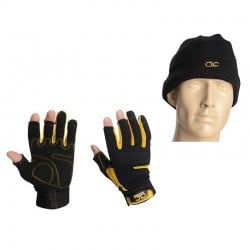 CLC Tradesman Fingerless Work Gloves & Beanie Hat PK4015
